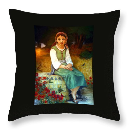 Landscape Painting Throw Pillow featuring the painting Poppy Field by Portraits By NC