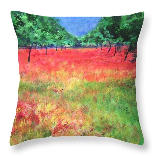 Original Landscape Painting. Poppy Field Throw Pillow featuring the painting Poppy Field II by Lizzy Forrester