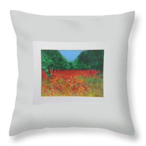 Poppy Throw Pillow featuring the painting Poppy Field In Ibiza by Lizzy Forrester