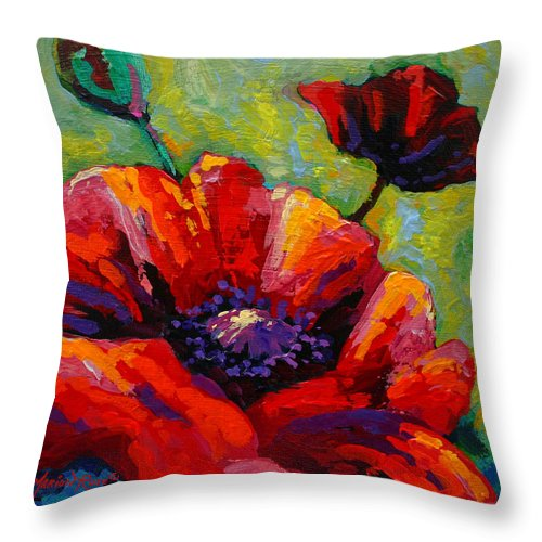 Poppies Throw Pillow featuring the painting Poppy I by Marion Rose