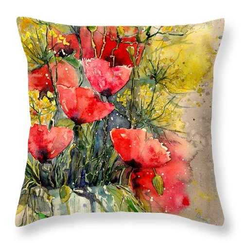 Red Throw Pillow featuring the painting Poppy Impression by Suzann Sines