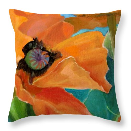 Flowers Poppy Painting Orange Throw Pillow featuring the painting Poppy by Jean Stark