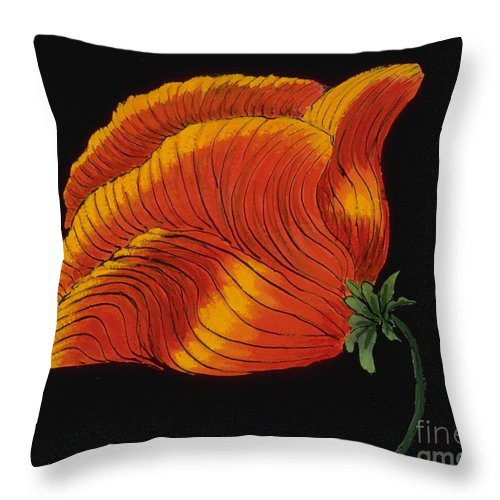 Flower Throw Pillow featuring the painting Poppy by Mary Erbert
