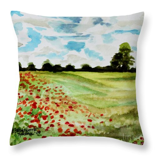 Landscape Throw Pillow featuring the painting Poppy Meadow by Elizabeth Robinette Tyndall