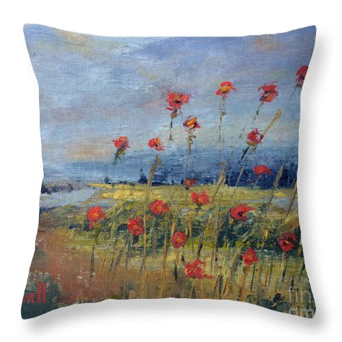 Poppy Red Flower Sky Overlook Green Dirt Road Landscape Throw Pillow featuring the painting Poppy Overlook by Patricia Caldwell