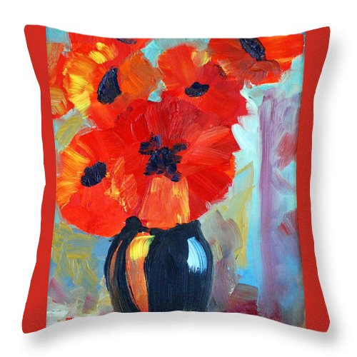 Poppy Throw Pillow featuring the painting Poppy by Phil Burton