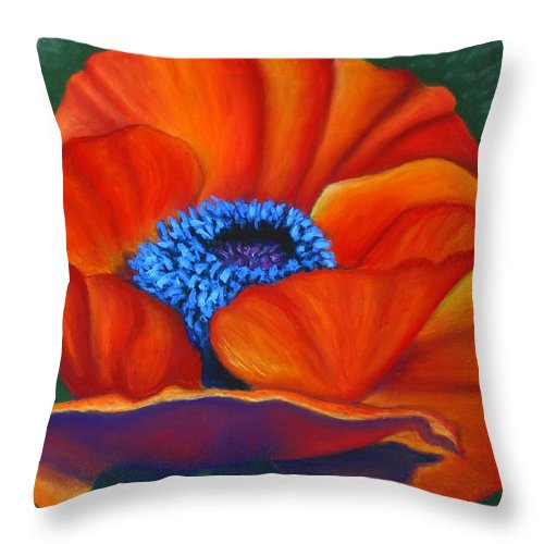 Red Flower Throw Pillow featuring the painting Poppy Pleasure by Minaz Jantz