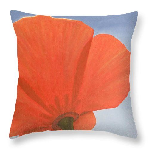 Flower Throw Pillow featuring the painting Poppy by Rob De Vries