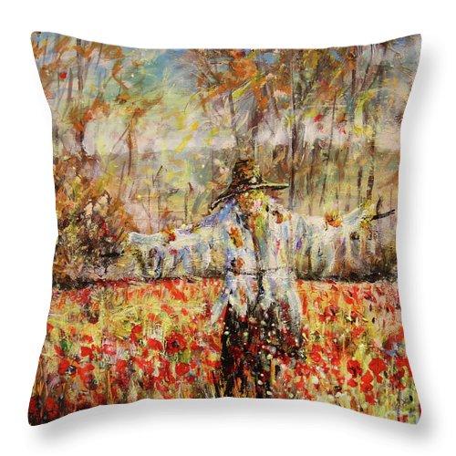 Poppy Scarecrow Throw Pillow featuring the painting Poppy Scarecrow by Dariusz Orszulik