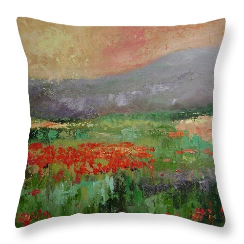 Poppies Throw Pillow featuring the painting Poppyfield by Ginger Concepcion