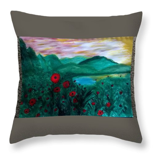Throw Pillow featuring the painting Poppys by Natty G