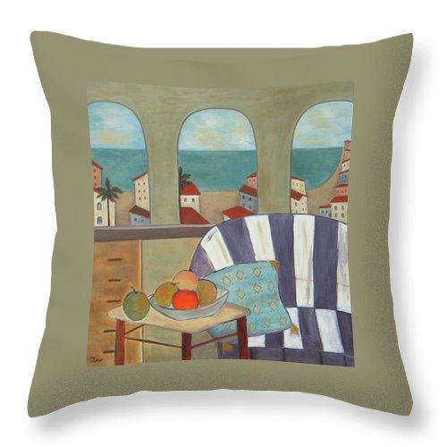 Still Life Throw Pillow featuring the painting Por La Manana by Trish Toro