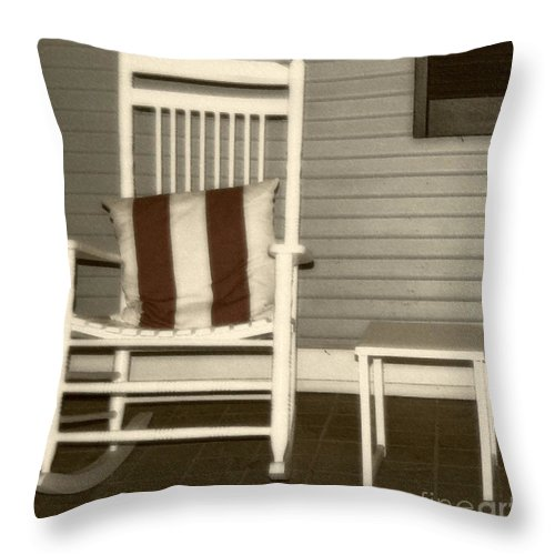 Rocking Chair Throw Pillow featuring the photograph Porch Rocker by Debbi Granruth