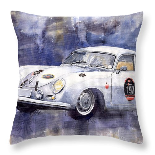 Watercolour Throw Pillow featuring the painting Porsche 356 Coupe by Yuriy Shevchuk