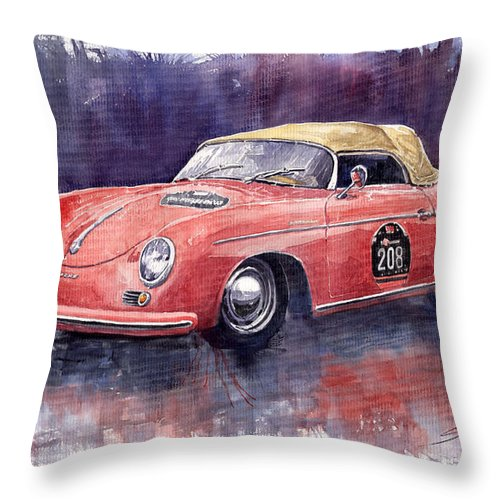 Watercolour Throw Pillow featuring the painting Porsche 356 Speedster Mille Miglia by Yuriy Shevchuk