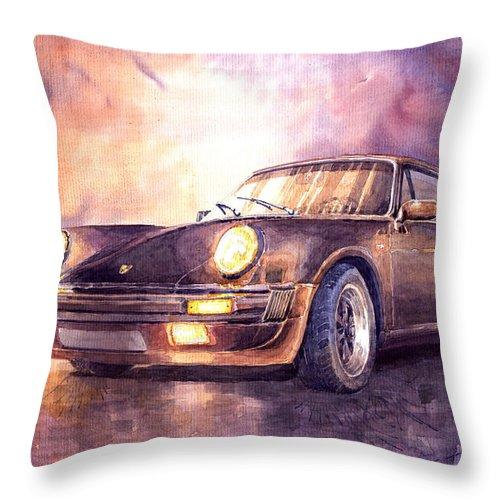 Shevchukart Throw Pillow featuring the painting Porsche 911 Turbo 1979 by Yuriy Shevchuk
