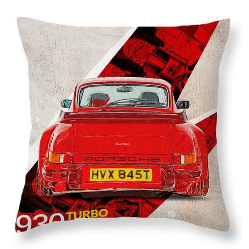 Porsche Throw Pillow featuring the digital art Porsche 930 Turbo 3.3 by Yurdaer Bes