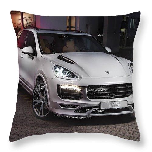 Porsche Cayenne Throw Pillow featuring the digital art Porsche Cayenne by Zia Low