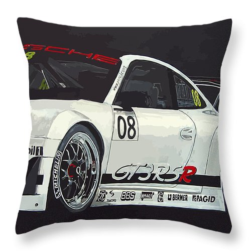Car Throw Pillow featuring the painting Porsche Gt3 Rsr by Richard Le Page