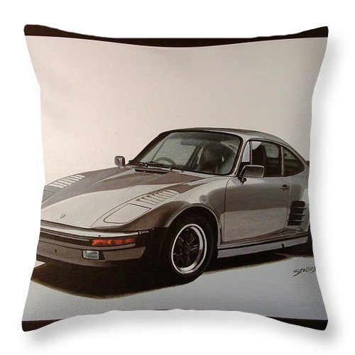 Car Throw Pillow featuring the painting Porsche by Shawn Stallings