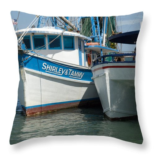 Florida; Usa; Boat; Fishing; Boats; Party; Shrimp; Shrimper; Shrimp; Port; Harbor; Harbour; Canavera Throw Pillow featuring the photograph Port Canaveral In Florida by Allan Hughes