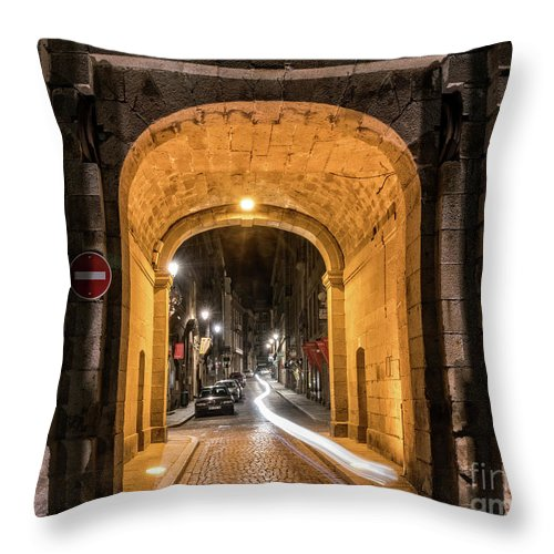 Brittany Throw Pillow featuring the photograph Port Dinan Archway At Night by Izet Kapetanovic