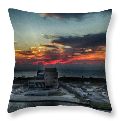 Port Throw Pillow featuring the photograph Port Everglades Sunrise by Judy Hall-Folde
