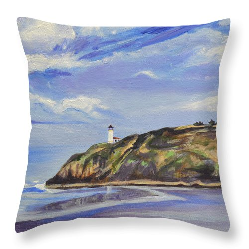 Painting Throw Pillow featuring the painting Port in a Storm by Mary Chant