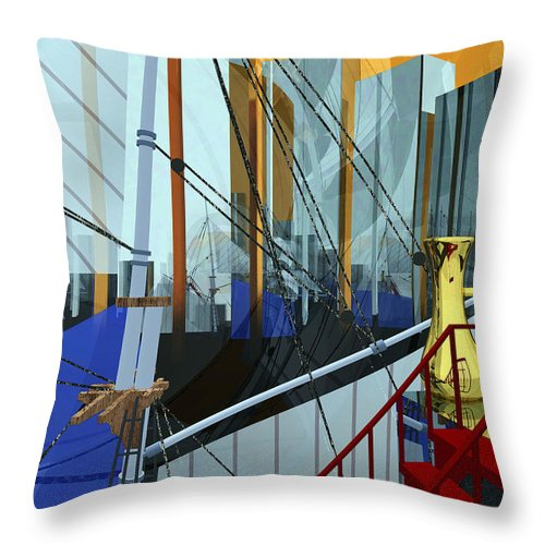 Abstract Throw Pillow featuring the digital art Port Of Call by Richard Rizzo