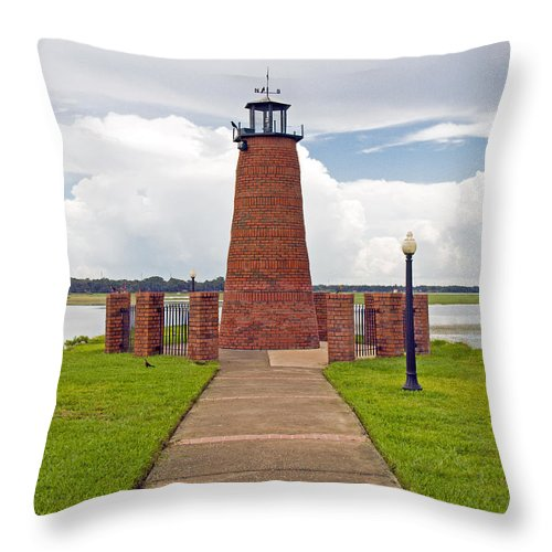 Florida; Kissimmee; Toho; Tohopekaliga; Port; Light; Lighthouse; House; Beacon; Brick; Central; Harb Throw Pillow featuring the photograph Port Of Kissimmee Lighthouse In Central Florida by Allan Hughes