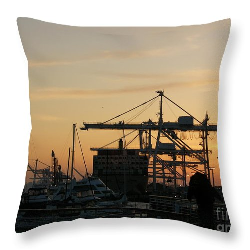 Oakland Throw Pillow featuring the photograph Port Of Oakland Sunset by Carol Groenen