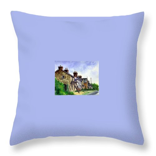 Water Color Throw Pillow featuring the painting Port Rush Gutter Repair by Jim Gola