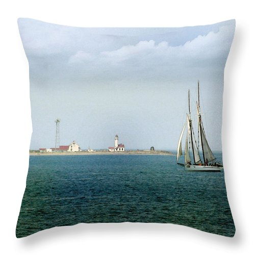 Landscape Throw Pillow featuring the digital art Port Wilson Light Puget Sound Wa Watercolor by Joseph G Holland