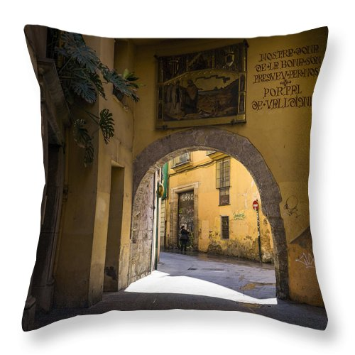 Barrio Carmen Throw Pillow featuring the photograph Portal De Valldigna In El Carmen by For Ninety One Days