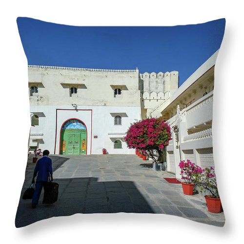 Courtyard Throw Pillow featuring the photograph Porter, Udaipur, Rajasthan by Aashish Vaidya