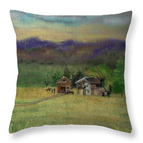 Barn Throw Pillow featuring the digital art Porter's Farm by Arline Wagner