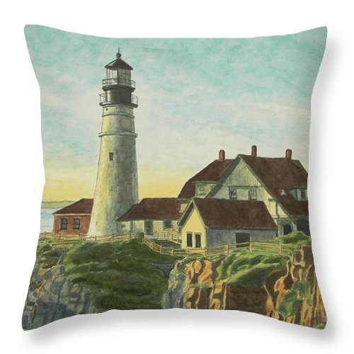 Lighthouse Throw Pillow featuring the painting Portland Head Light At Sunrise by Dominic White