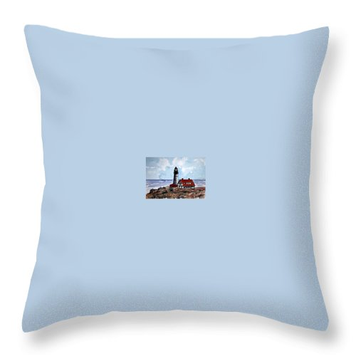 Lighthouse Paintings Throw Pillow featuring the painting Portland Head Lighthouse by Derek Mccrea