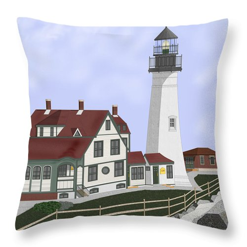 Portland Head Lighthouse Throw Pillow featuring the painting Portland Head Maine On Cape Elizabeth by Anne Norskog