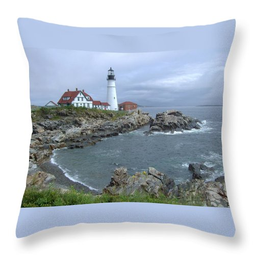 Lighthouse Throw Pillow featuring the photograph Portland Headlight, Maine by Laurence Konigsberg