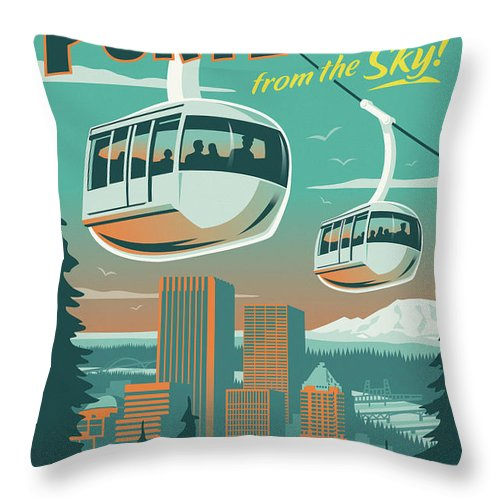 Vintage Throw Pillow featuring the digital art Portland Poster - Tram Retro Travel by Jim Zahniser