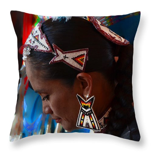 Pow Wow Throw Pillow featuring the photograph Portrait # 219 by Ed Hall