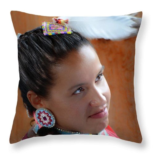 First Nations Throw Pillow featuring the photograph Portrait # 370 by Ed Hall
