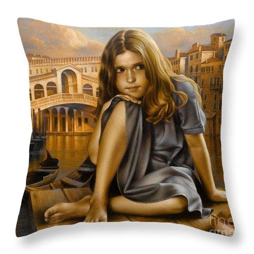 Portrait Throw Pillow featuring the painting Portrait by Arthur Braginsky