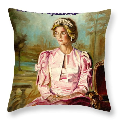 Commissioned Art Throw Pillow featuring the painting Portrait Commissions By Portrait Artist Carole Spandau by Carole Spandau