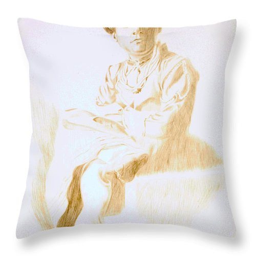 royal pillow drawing. makarand joshi throw pillow featuring the drawing portrait of an east indian royal rajput young
