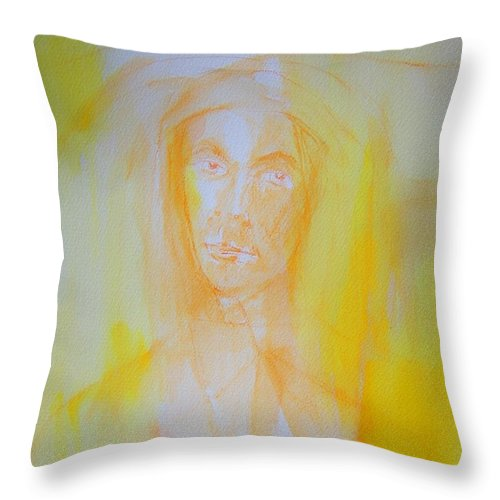 Abstract Throw Pillow featuring the painting Portrait In Yellow by Judith Redman