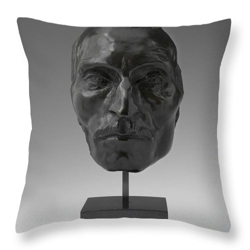 Throw Pillow featuring the photograph Portrait Mask Of Etienne Carjat by Aim?-jules Dalou
