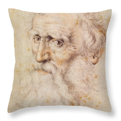 Albrecht Durer Or Duere Throw Pillow featuring the drawing Portrait Of A Bearded Old Man by Albrecht Durer or Duerer