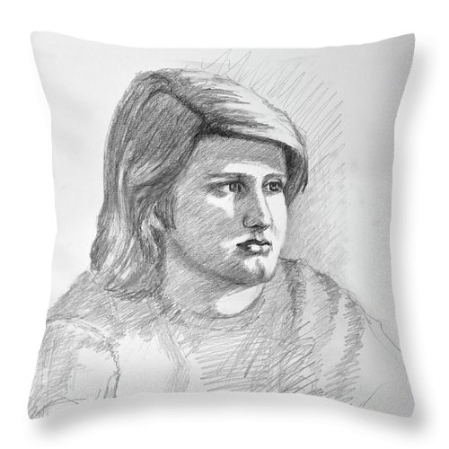 Realism Throw Pillow featuring the drawing Portrait Of A Boy by Keith Burgess